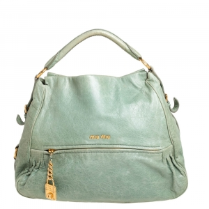 Miu Miu Lime Green Leather Lily Distressed Satchel