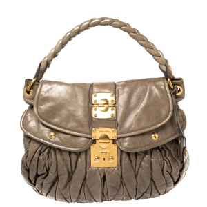 Miu Miu Dark Beige Matelasse Leather Coffer Hobo