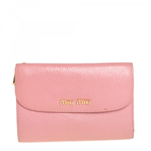 Miu Miu Pink Leather Madras Compact Wallet