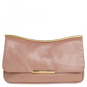 Miu Miu Nude Pink Leather Flap Frame Clutch
