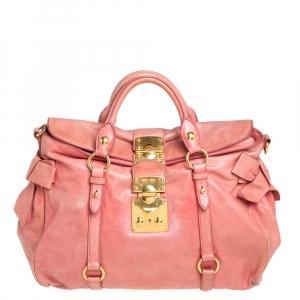 Miu Miu Pink Leather Side Bow Tote
