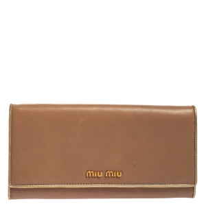 Miu Miu Beige/Gold Leather Logo Flap Continental Wallet