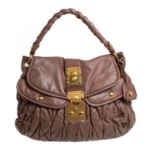Miu Miu Brown Matelasse Leather Coffer Hobo