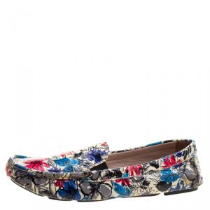 Miu Miu Multicolor Floral Printed Patent Leather Loafers Size 40