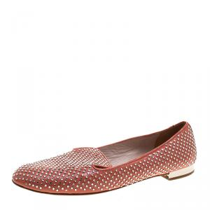 Miu Miu Coral Orange Crystal Studded Patent Leather Smoking Slippers Size 38.5