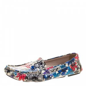 Miu Miu Multicolor Floral Printed Patent Leather Loafers Size 36