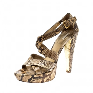 Miu Miu Beige Python Leather Criss Cross Platform Sandals Size 39 - used