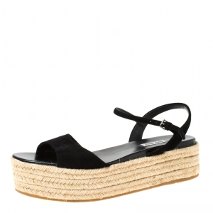 Miu Miu Black Suede Espadrille Platform Flat Sandals Size 42 - used