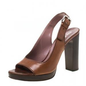 Miu Miu Brown Leather Open Toe Slingback Platform Sandals Size 37 - used