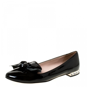 Miu Miu Black Patent Leather Studded Bow Ballet Flats Size 37.5 - used