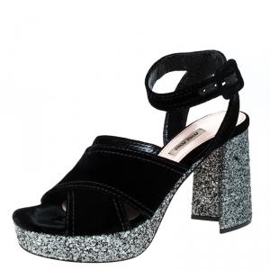 Miu Miu Black Velvet And Glitter Heel Platform Ankle Strap Sandals Size 40 - used