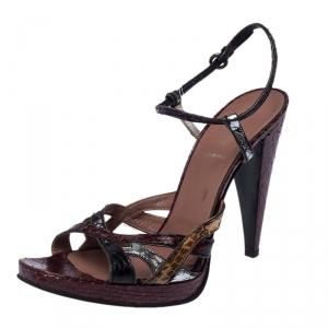 Miu Miu Multicolor Python Strappy Open Toe Ankle Strap Sandals Size 39.5 - used
