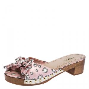 Miu Miu Pink/White Printed Satin Bow Wooden Platform Sandals Size 39.5 - used