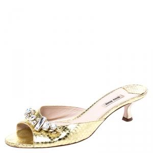 Miu Miu Metallic Gold Snake Embossed Leather Crystal Embellished Peep Toe Sandals Size 40 - used