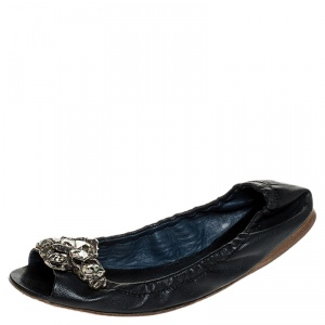 Miu Miu Blue Leather Crystal Embellished Open Toe Scrunch Ballet Flats Size 36.5 - used