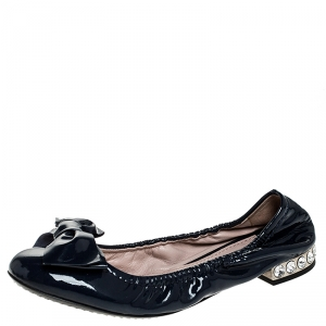 Miu Miu Blue Patent Leather Bow Detail Crystal Embellished Heel Scrunch Ballet Flats Size 35 - used