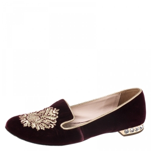 Miu Miu Burgundy Crest Embroidered Velvet Smoking Slippers Size 35.5 - used