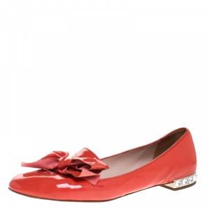 Miu Miu Orange Patent Leather Bow Smoking Slippers Size 38