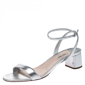 Miu Miu Metallic Silver Leather Ankle Strap Block Heel Sandals Size 39.5 - used