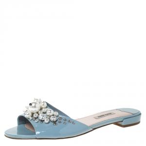 Miu Miu Blue Patent Leather Pearl Embellished Slides Sandals Size 40 - used