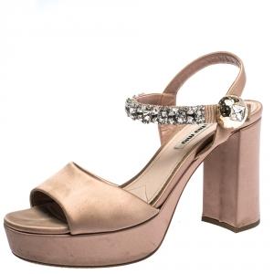 Miu Miu Beige Satin Crystal Embellished Ankle Strap Platform Block Heel Sandals Size 39 - used