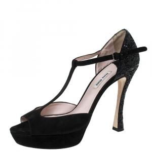 Miu Miu Black Suede And Coarse Glitter T-Strap Platform Sandals Size 39.5 - used