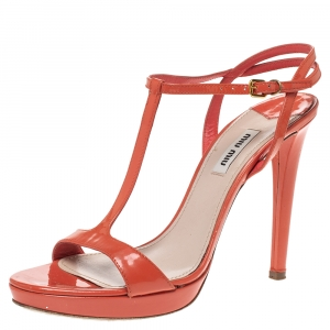 Miu Miu Orange Patent Leather T Strap Platform Sandals Size 39 - used