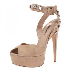 Miu Miu Beige Suede Crystal Ankle Straps Platform Sandals Size 38.5 - used