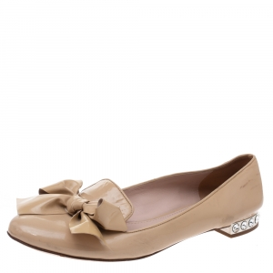Miu Miu Beige Patent Leather Bow Crystal Embellished Ballet Flats Size 39.5