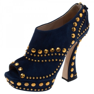 Miu Miu Blue Suede Studded Peep Toe Booties Size 36 - used
