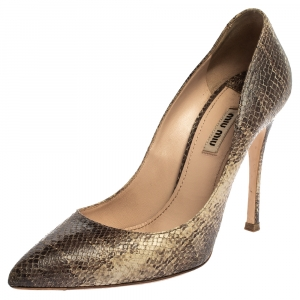 Miu Miu Two Tone Python Embossed Leather Pointed Toe Pumps Size 39