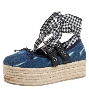 Miu Miu Blue Denim and Leather Lace Up Platform Wedge Espadrilles Size 36.5 - used