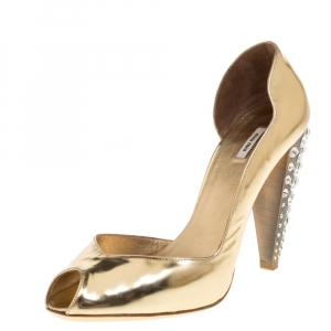 Miu Miu Metallic Gold Leather Crystal Embellished Heel D
