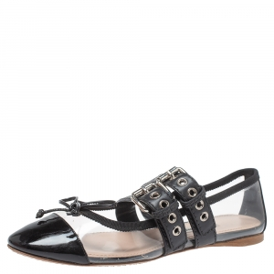 Miu Miu Black Patent Leather And PVC Buckled Strap Bow Ballet Flats Size 36