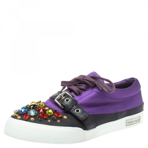Miu Miu Purple Satin Crystal And Stud Cap Toe Embellished Buckle Detail Sneakers Size 40