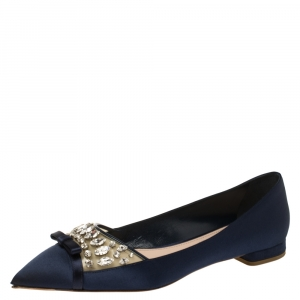 Miu Miu Navy Blue Satin Jeweled Pointed Toe Ballet Flats Size 39 - used