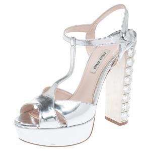 Miu Miu Silver Leather T-Strap Crystal Embellished Heel Platform Sandals Size 37