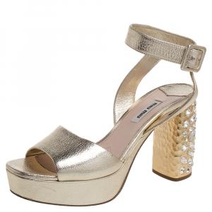 Miu Miu Gold Leather Crystal Embellished Block Heel Ankle Strap Platform Sandals Size 38.5
