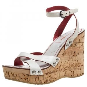 Miu Miu White Leather Cork Wedge Platform Sandals Size 39