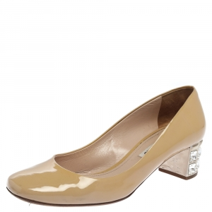 Miu Miu Beige Patent Leather Crystal Embellished Block Heel Pumps Size 37.5