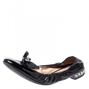 Miu Miu Black Patent Leather Crystal Embellished Ballet Flats Size 39.5