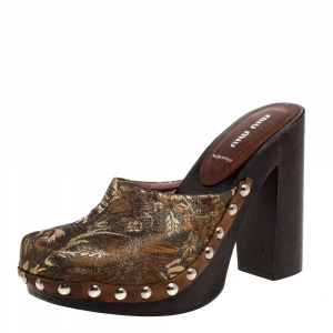 Miu Miu Brown/Gold Brocade Fabric Studded Platform Clogs Size 39.5