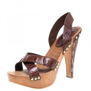 Miu Miu Brown Croc Embossed Leather Clog Platform Sandals Size 41 - used