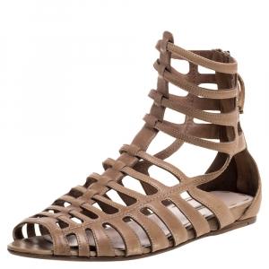 Miu Miu Light Brown Leather Gladiator Flat Sandals Size 39.5 - used