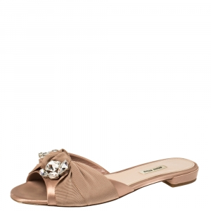 Miu Miu Beige Satin And Canvas Knot Crystal Embellished Slide Sandals Size 40.5 - used