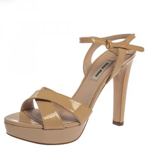 Miu Miu Beige Patent Leather Ankle Strap Platform Sandals Size 38 - used