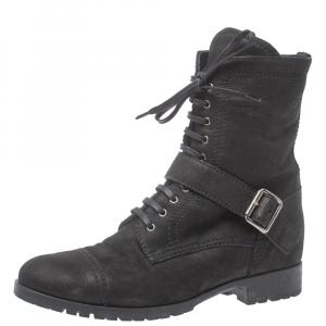 Miu Miu Black Nubuck Lace Up Ankle  Boots Size 40
