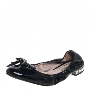 Miu Miu Black Patent Leather Bow Detail Crystal Embellished Heel Scrunch Ballet Flats Size 38.5 - used