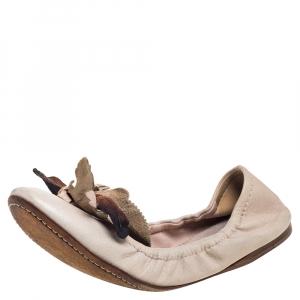 Miu Miu Beige Leather Embellished Flats Size 38 - used