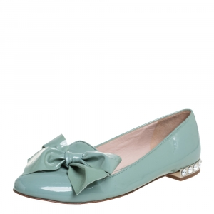 Miu Miu Green Patent Leather Crystal Embellished Bow Ballet Flats Size 36 - used